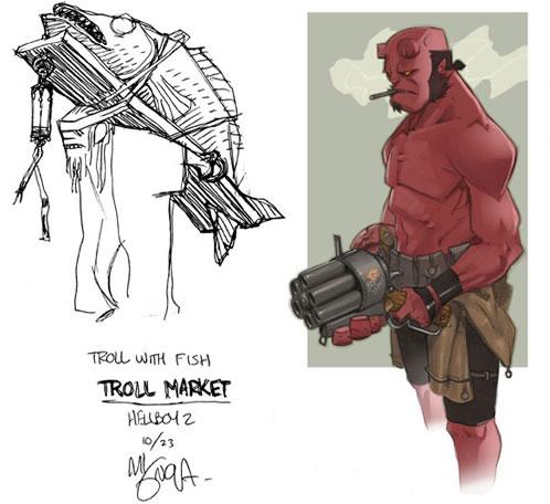 Arte conceptual para Hellboy 2 (Mike Mignola, Francisco Ruiz Velasco y Pablo Ángeles)